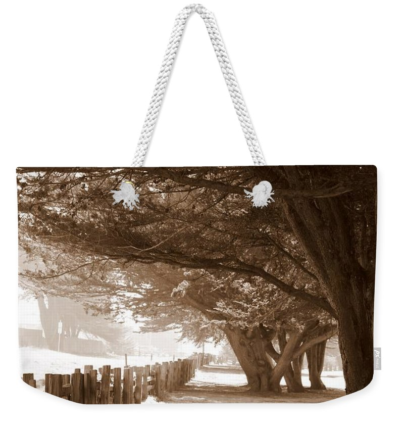 Sepia Weekender Tote Bag featuring the photograph Half Moon Bay Pathway by Carol Groenen