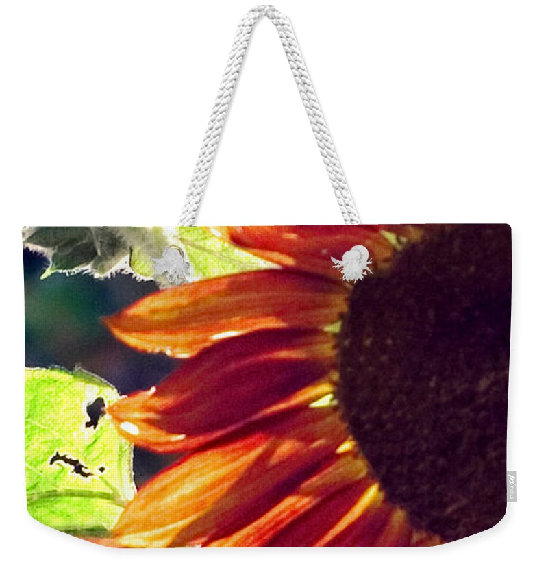 Sunflower Weekender Tote Bag featuring the photograph Half Of A Sunflower by Madeline Ellis