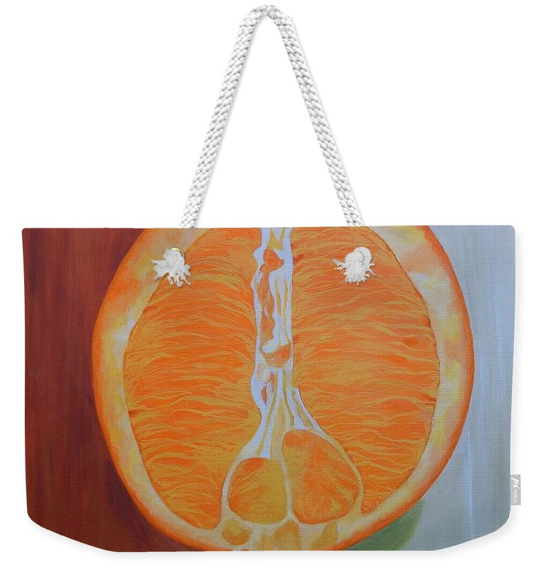 Fruit Weekender Tote Bag featuring the painting Half Orange by Graciela Castro