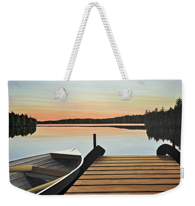 Algonquin Weekender Tote Bag featuring the painting Haliburton Dock by Kenneth M Kirsch