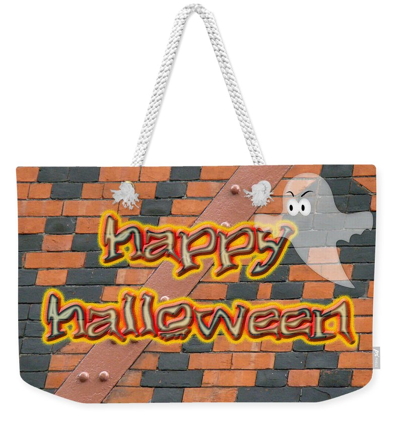 Halloween Weekender Tote Bag featuring the photograph Halloween Greeting Card - Brick Wall In Philadelphia by Mother Nature