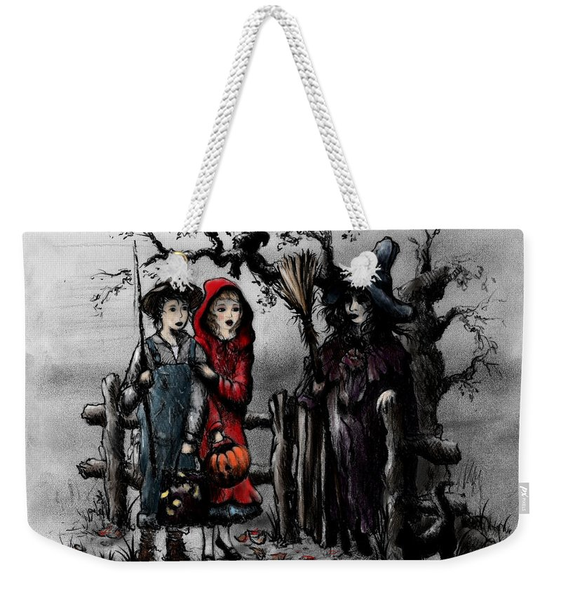 Halloween Weekender Tote Bag featuring the drawing Halloween Night by Rachel Christine Nowicki