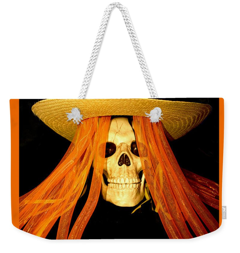 Barbara Snyder Weekender Tote Bag featuring the digital art Halloween Skull Border by Barbara Snyder