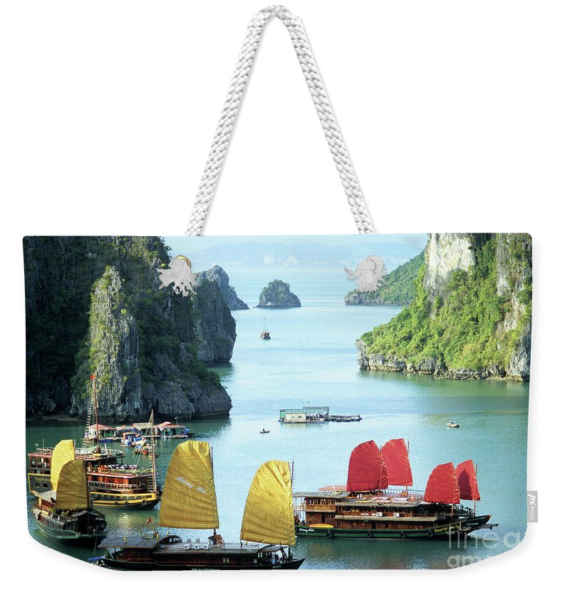 Vietnam Weekender Tote Bag featuring the photograph Halong Bay Sails 01 by Rick Piper Photography