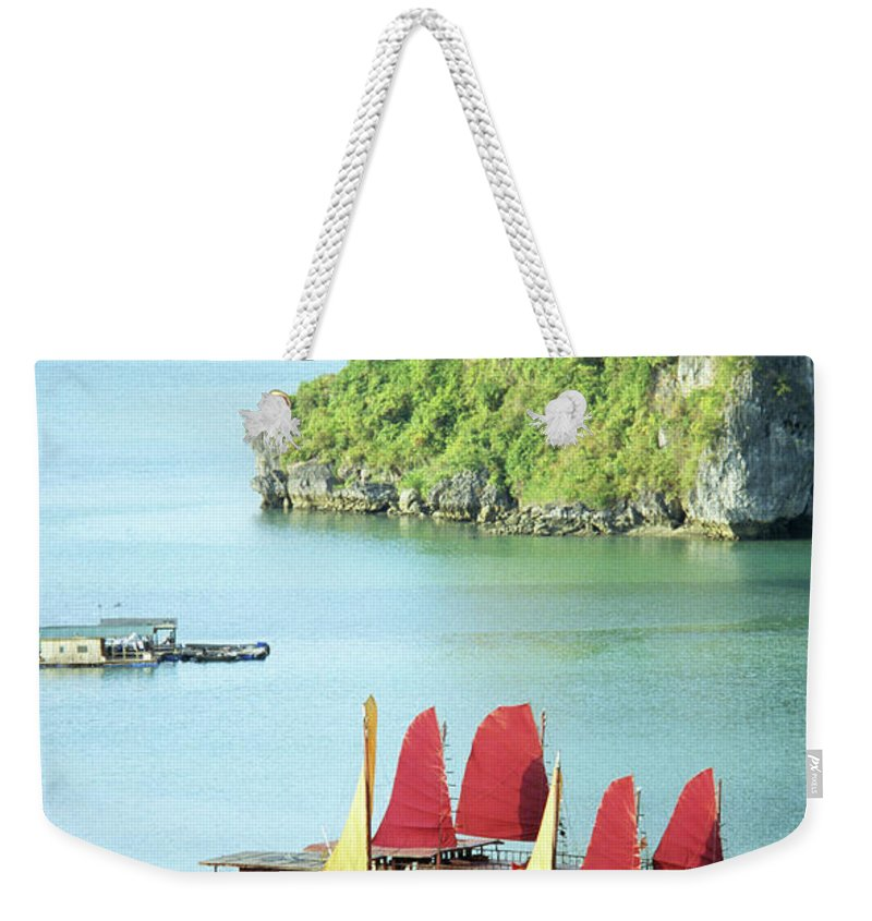 Vietnam Weekender Tote Bag featuring the photograph Halong Bay Sails 02 by Rick Piper Photography