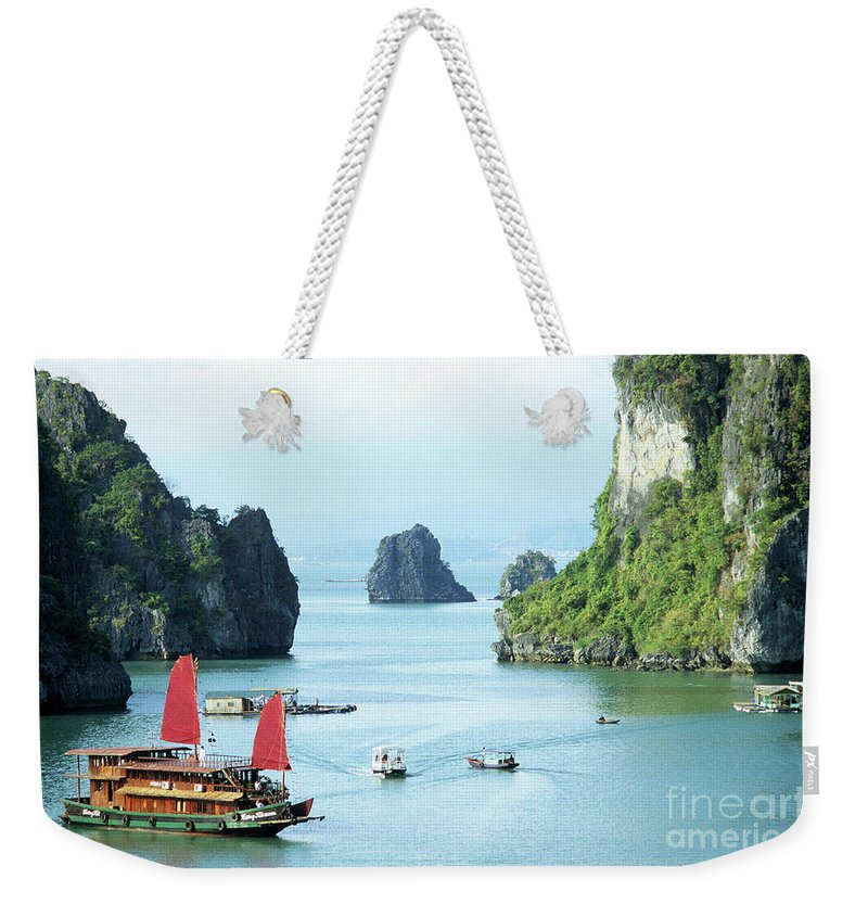 Vietnam Weekender Tote Bag featuring the photograph Halong Bay Sails 03 by Rick Piper Photography