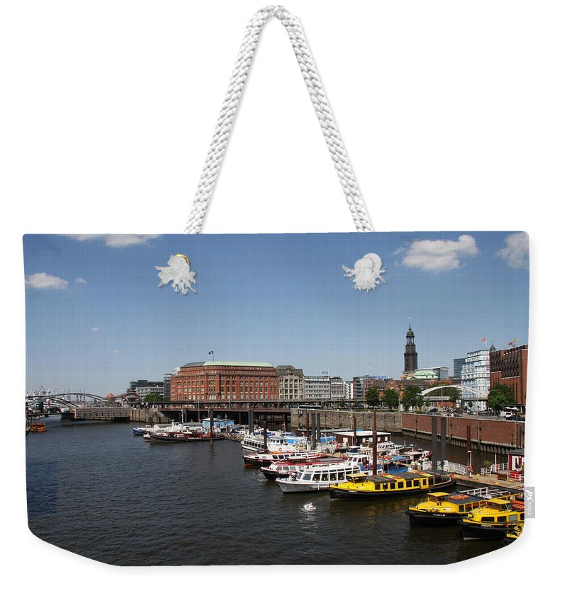 Hamburg Weekender Tote Bag featuring the photograph Hamburg Port With Fleet by Christiane Schulze Art And Photography