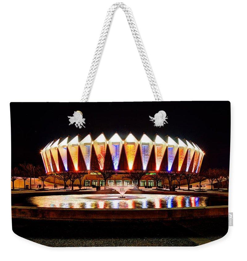 Hampton Coliseum Weekender Tote Bag featuring the photograph Hampton Coliseum Christmas by Greg Hager