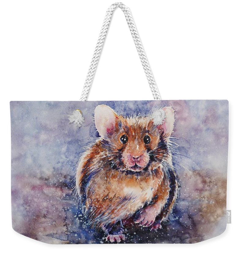 Hamster Weekender Tote Bag featuring the painting Hamster by Zaira Dzhaubaeva