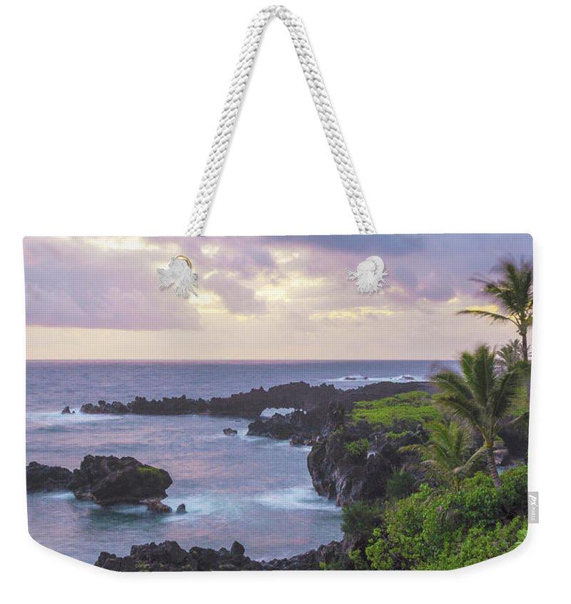 Road To Hana Lava Rock Sea Arches Sunrise Maui Hawaii Hi Seascape Weekender Tote Bag featuring the photograph Hana Arches Sunrise 3 - Maui Hawaii by Brian Harig