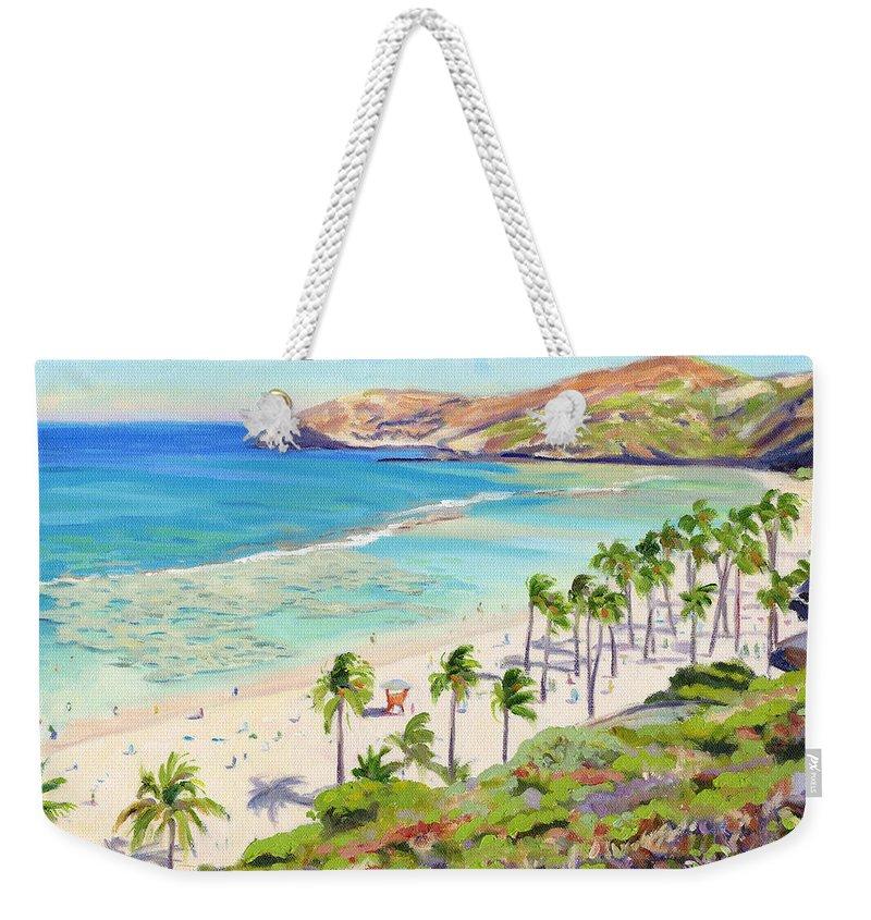 Hanauma Bay Weekender Tote Bag featuring the painting Hanauma Bay - Oahu by Steve Simon