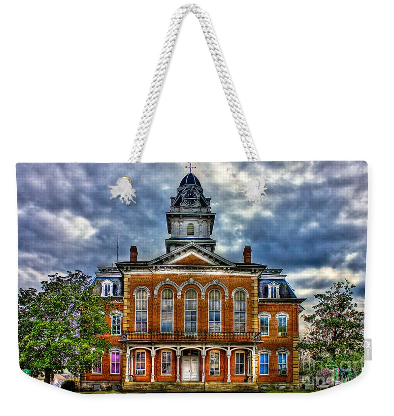 Reid Callaway Hancock County Courthouse Weekender Tote Bag featuring the photograph Before It Burned Hancock County Courthouse Art by Reid Callaway