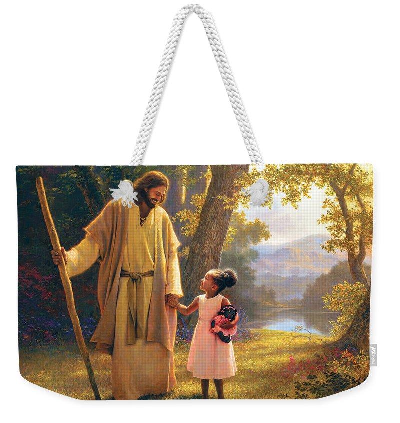 Jesus Weekender Tote Bag featuring the painting Hand in Hand by Greg Olsen