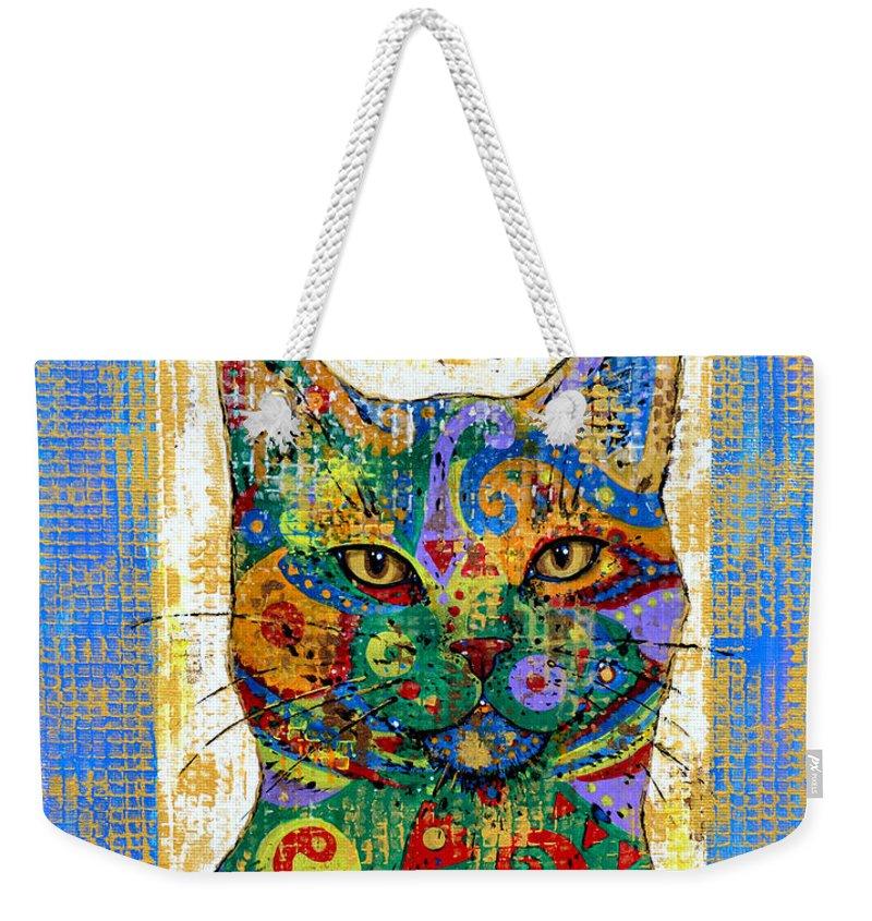 Cat Weekender Tote Bag featuring the painting Handsome by Zaira Dzhaubaeva