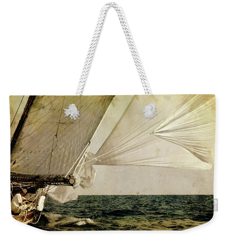 Tall Weekender Tote Bag featuring the photograph Hanged On Wind In A Mediterranean Vintage Tall Ship Race by Pedro Cardona Llambias
