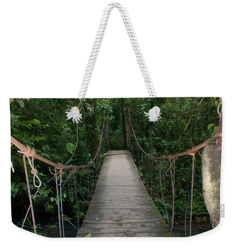 Rio Celeste Weekender Tote Bag featuring the photograph Hanging Bridge by Nick Mosher