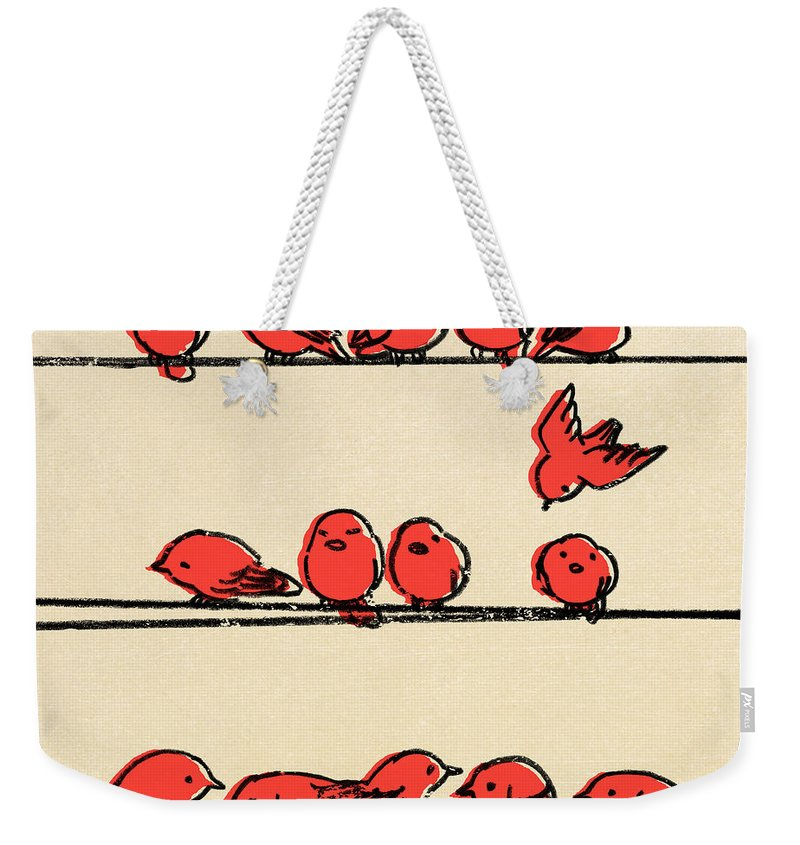Birds Weekender Tote Bag featuring the drawing Hanging Out by Eric Fan