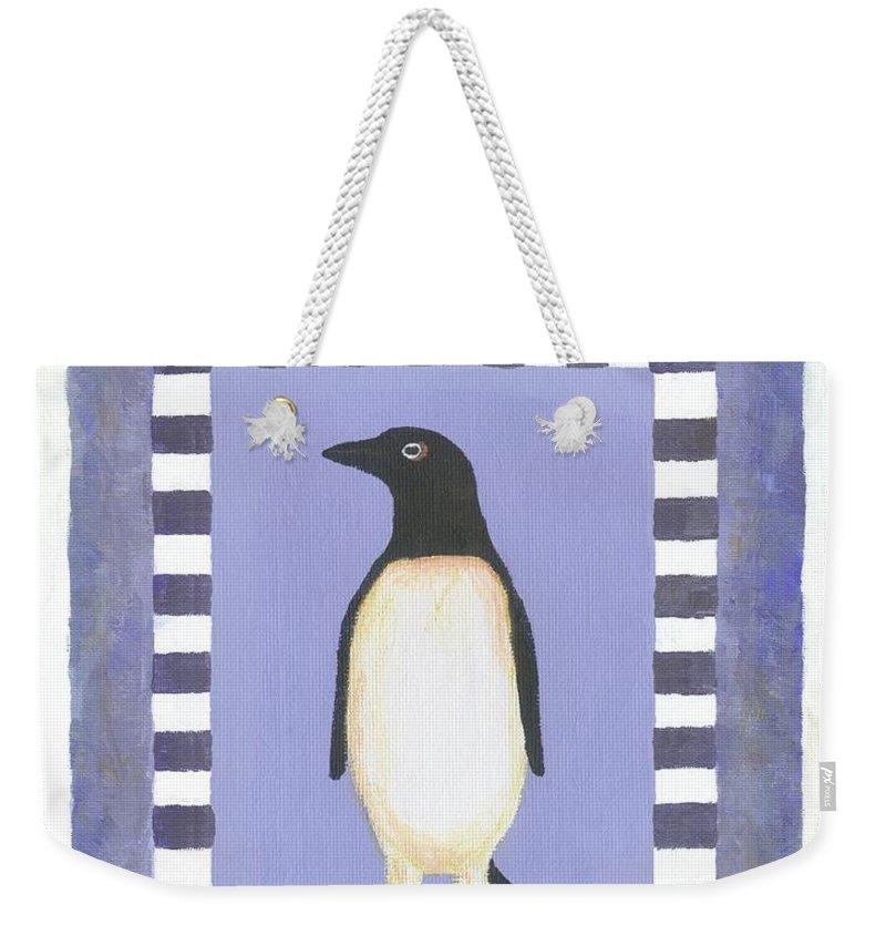 Whimsical Hanukka Weekender Tote Bag featuring the painting Hanukka Penguin Three by Linda Mears
