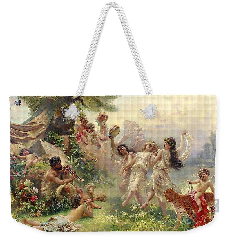 Konstantin Makovsky Weekender Tote Bag featuring the painting Happy Arcadia  by Konstantin Makovsky 4b192219f1