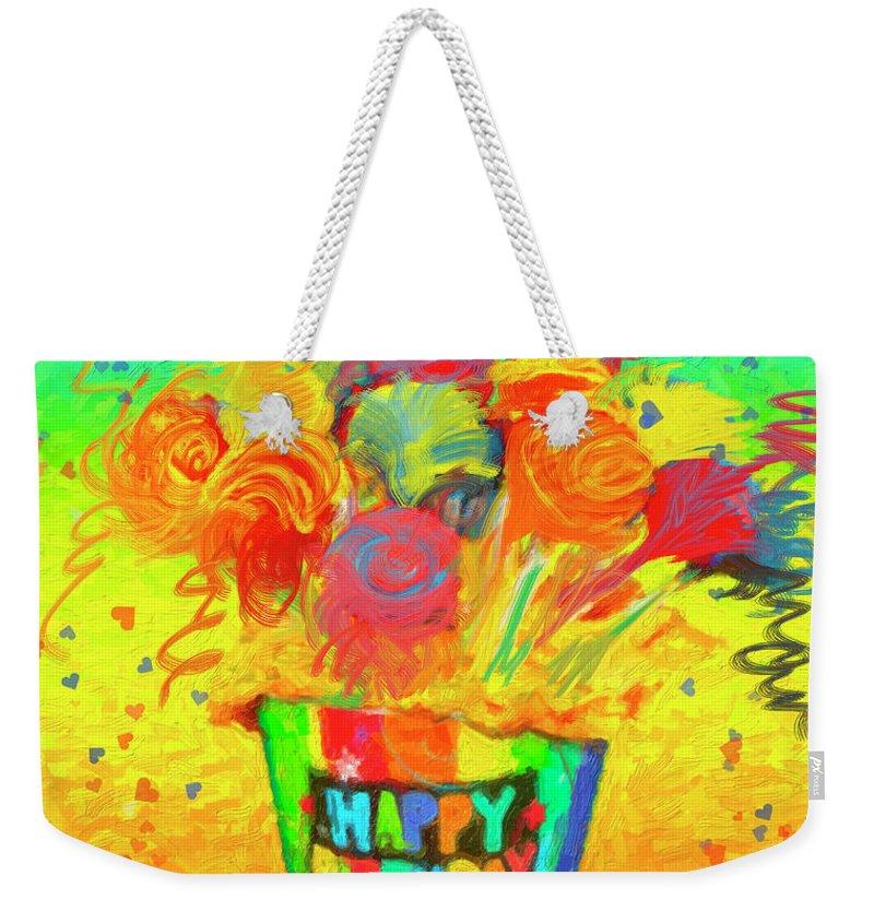 Flower Weekender Tote Bag featuring the painting Happy Birthday by Angela Stanton