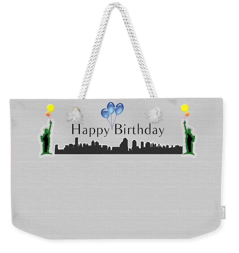 Happy Birthday Weekender Tote Bag Featuring The Digital Art Card