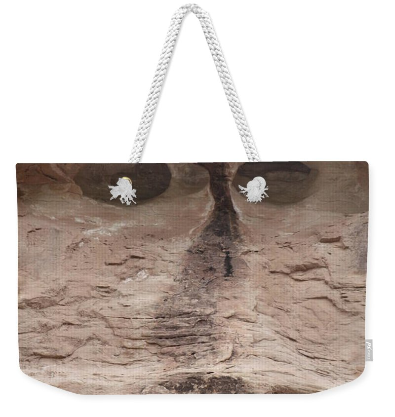 Rock Cliff Weekender Tote Bag featuring the photograph Happy Cliff by Brandi Maher