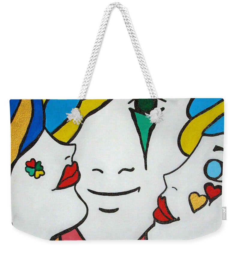 Pop-art Weekender Tote Bag featuring the painting Happy Days by Silvana Abel