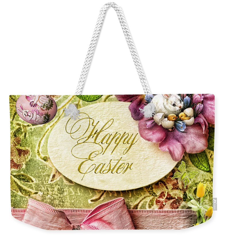 Happy Easter Weekender Tote Bag featuring the digital art Happy Easter 2 by Mo T