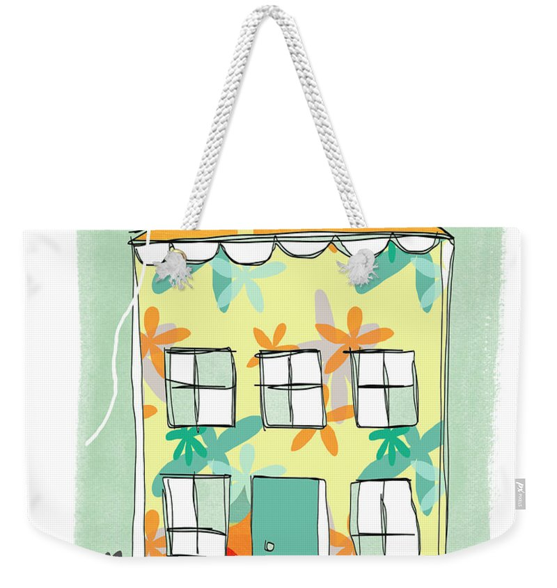 Easter Weekender Tote Bag featuring the painting Happy Easter Card by Linda Woods