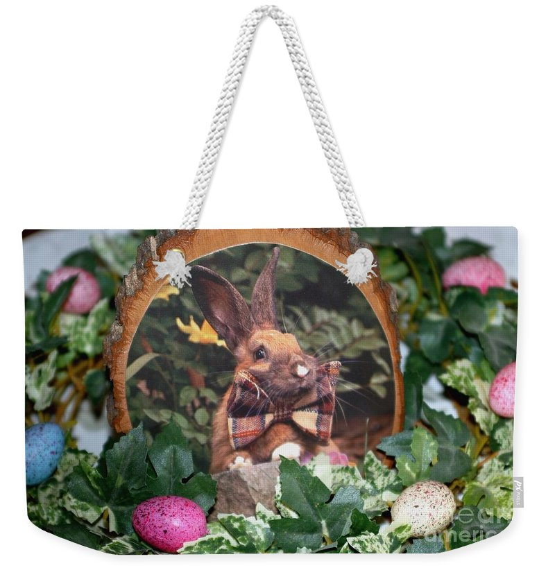 Bunny Weekender Tote Bag featuring the photograph Happy Easter by Living Color Photography Lorraine Lynch