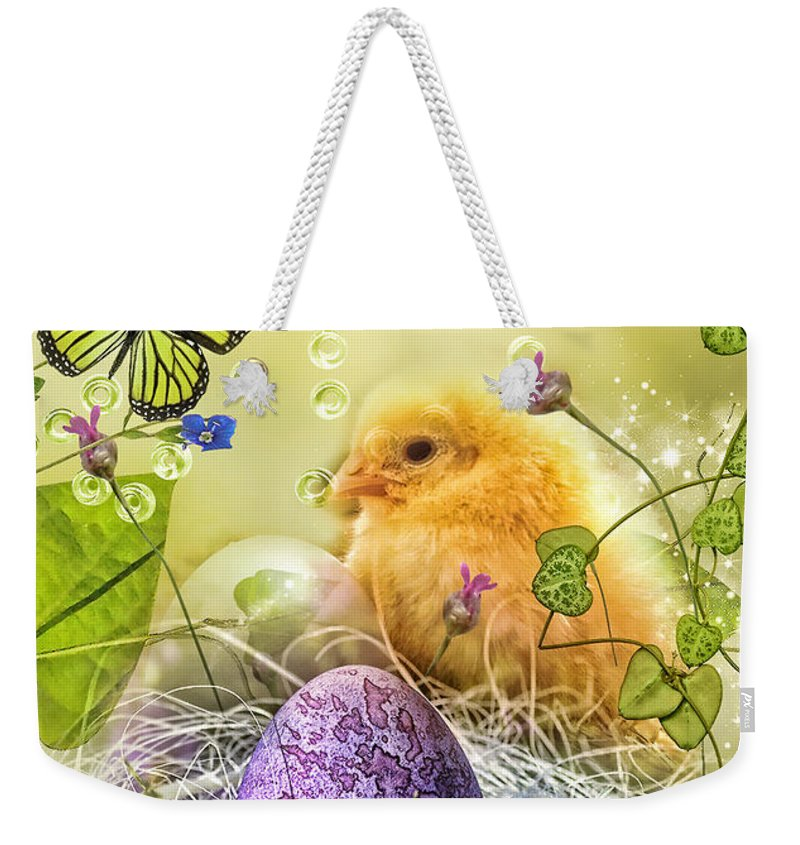 Happy Easter Weekender Tote Bag featuring the digital art Happy Easter by Mo T