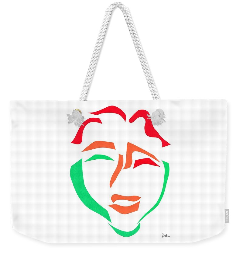 Face Weekender Tote Bag featuring the mixed media Happy Face by Delin Colon