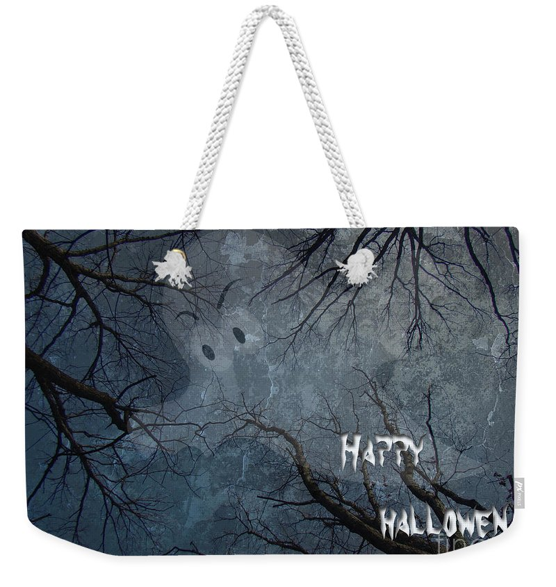 Halloween Weekender Tote Bag featuring the photograph Happy Halloween - Ghost In Trees by Mother Nature