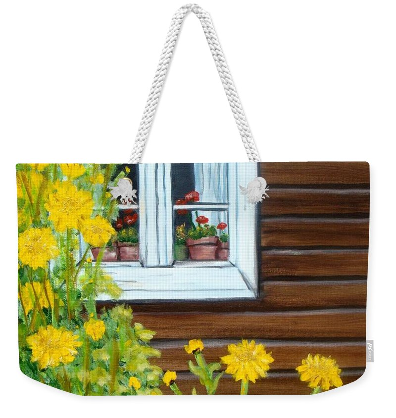 Window Weekender Tote Bag featuring the painting Happy Homestead by Laurie Morgan