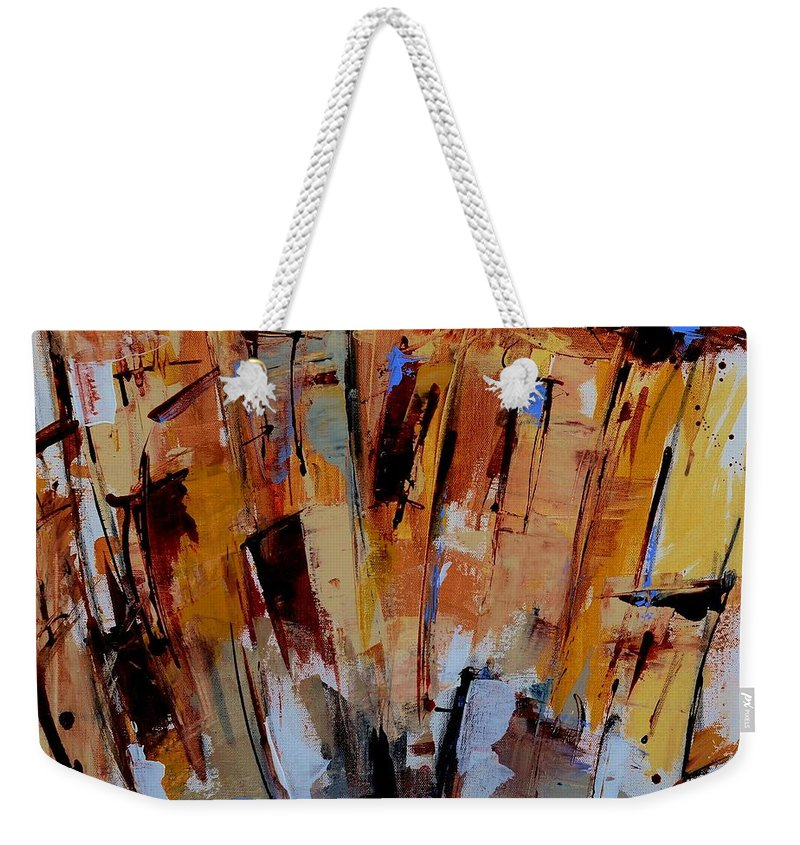 House Weekender Tote Bag featuring the painting Happy House by Elise Palmigiani