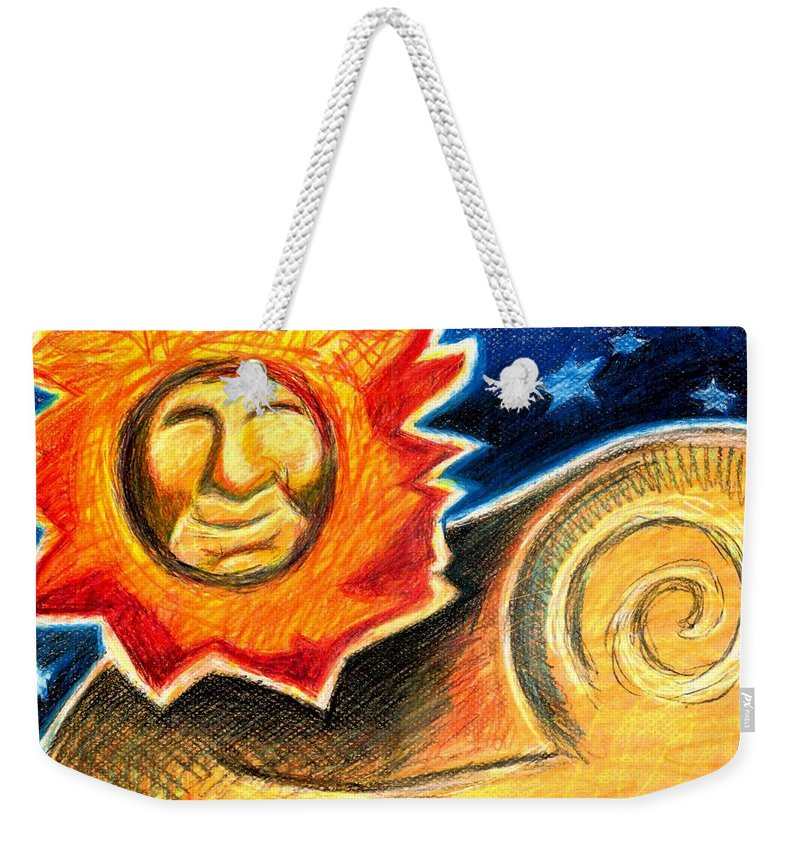 Lion Weekender Tote Bag featuring the painting Happy Lion by Genevieve Esson