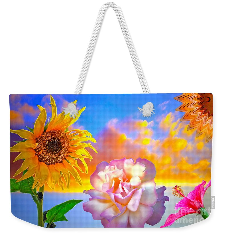 Sunflower Weekender Tote Bag featuring the photograph Happy Moments by Gwyn Newcombe