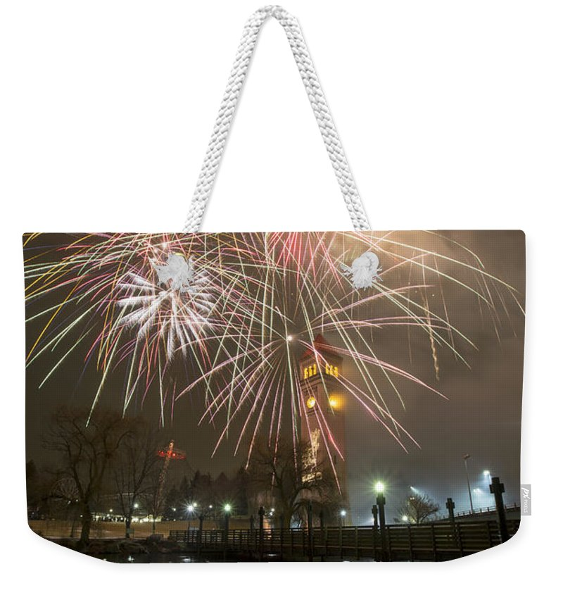 Fireworks Weekender Tote Bag featuring the photograph Happy New Year 2014 A by Paul DeRocker