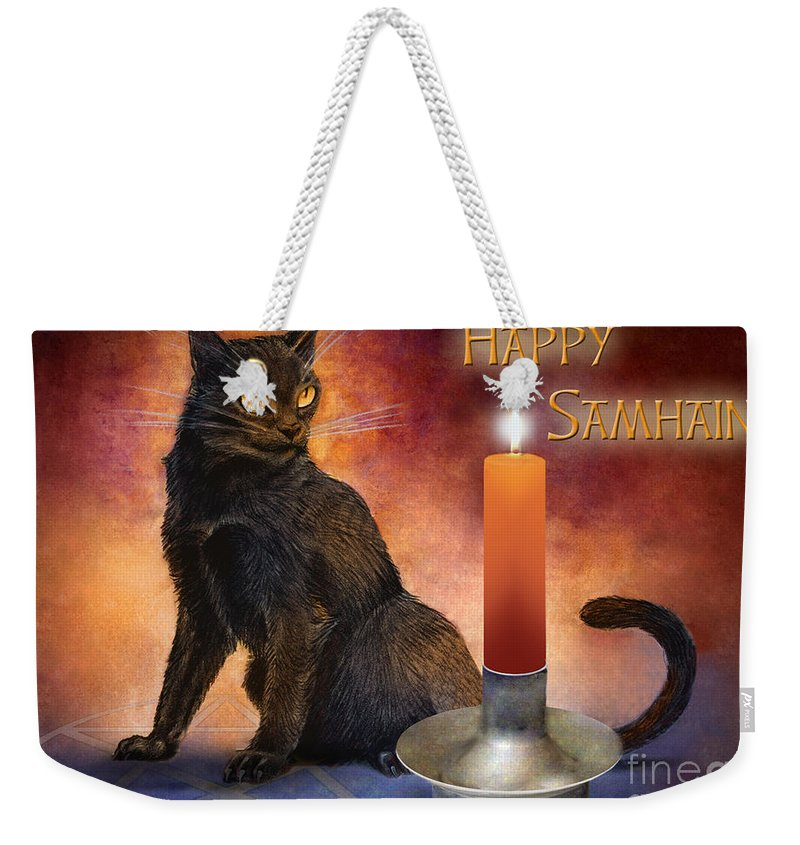 Kitten Reborn Black Wiccan Pentagram Holiday Cool black Cat guide happy Samhain wheel Of The Year Pagan Awesome Harvest Cat Wicca Pentacle Celebration Candle Altar Ritual Orange Red Purple Blue Weekender Tote Bag featuring the digital art Happy Samhain Kitten And Candle by Melissa A Benson