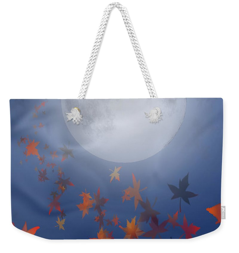 Autumn Weekender Tote Bag featuring the digital art Happy Samhain Moon And Veil by Melissa A Benson
