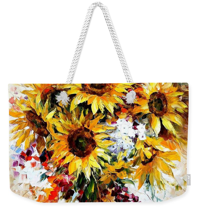 Sunflower Beach Tote Original hand painted sunflower on a large carryall bag with rope handles
