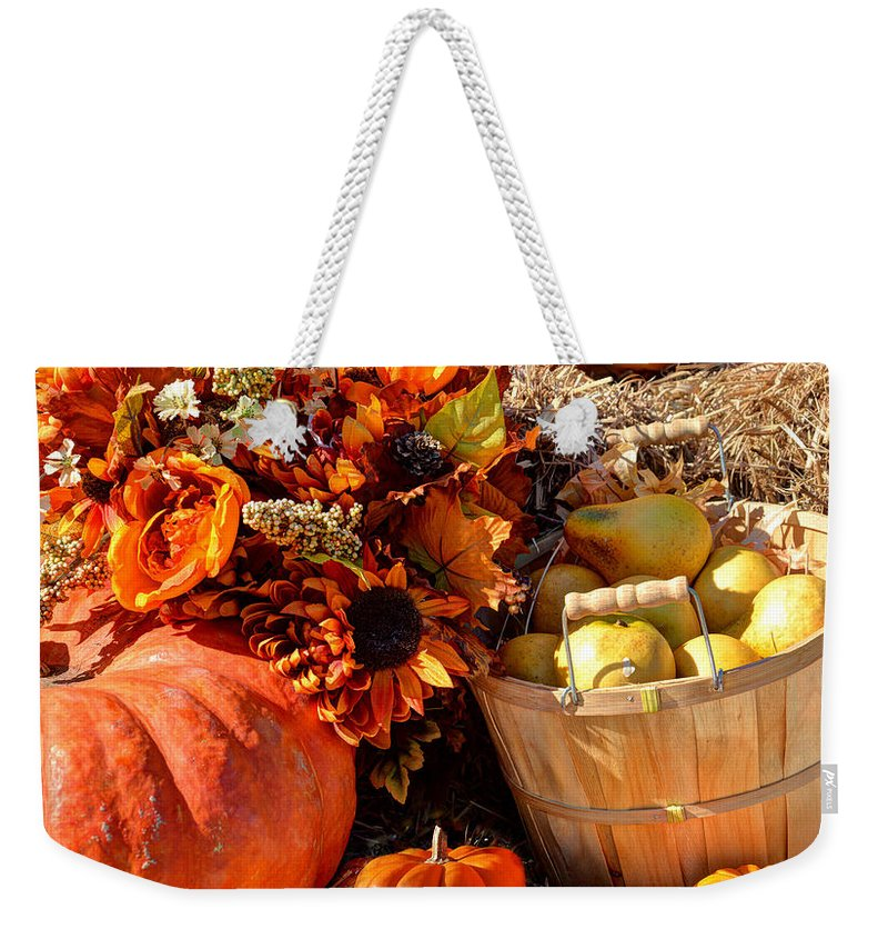Harvest Weekender Tote Bag featuring the photograph Happy Thaksgiving by Savannah Gibbs