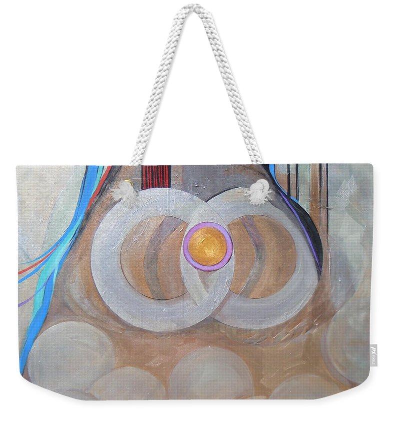 Judaic Weekender Tote Bag featuring the painting Haray At M'kudeshet Li... by Marlene Burns