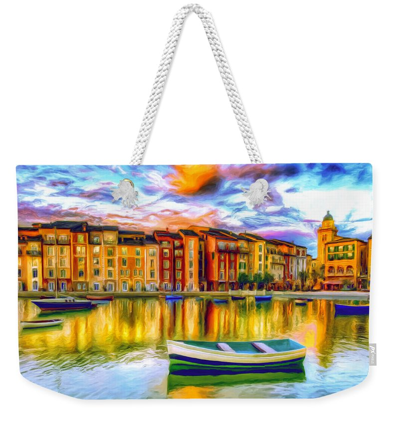 Harbor Weekender Tote Bag featuring the painting Harbor At Sunset by Dominic Piperata