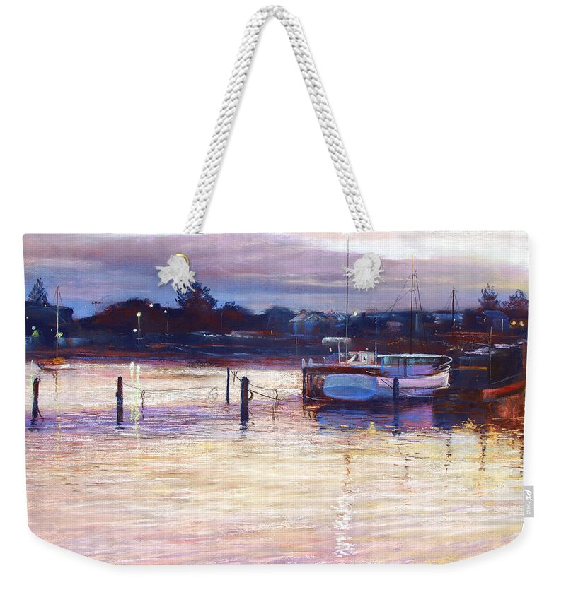 Lynda Robinson Weekender Tote Bag featuring the pastel Harbour Lights - Apollo Bay by Lynda Robinson