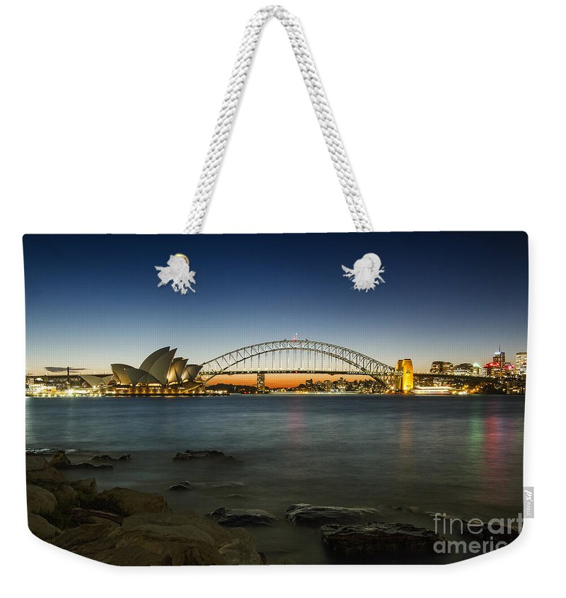 Sydney Weekender Tote Bag featuring the photograph Harbour Night by Andrew Paranavitana