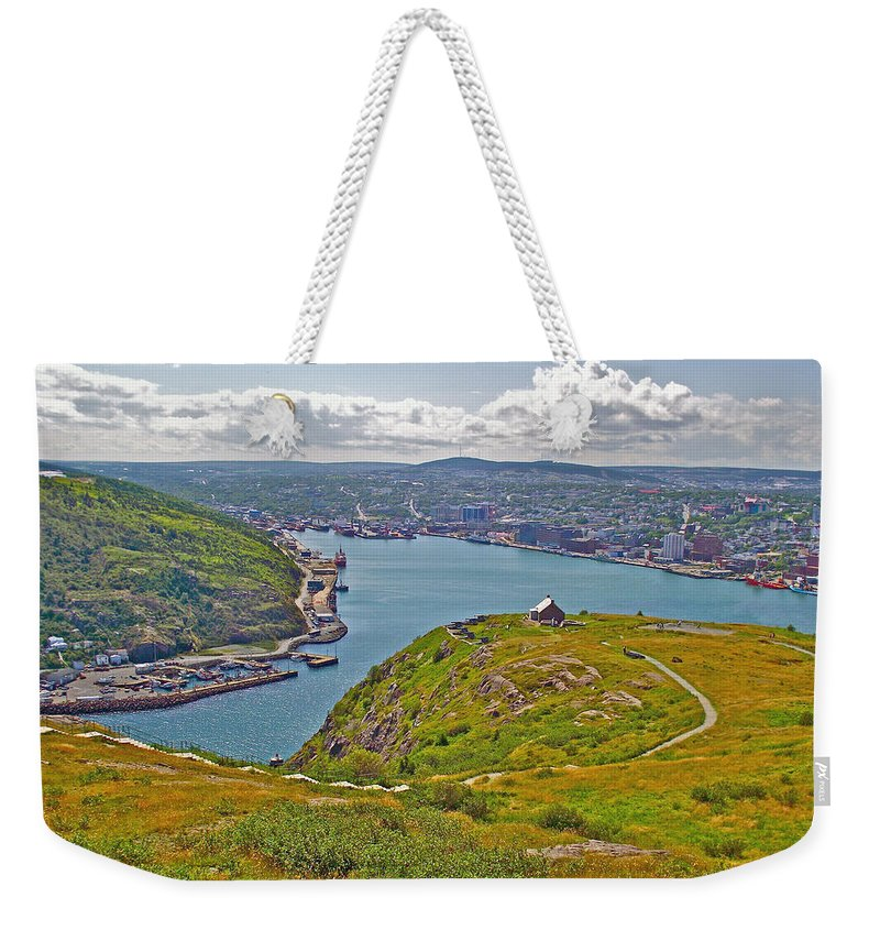 Harbour View From Signal Hill National Historic Site In Saint John's Weekender Tote Bag featuring the photograph Harbour View From Signal Hill National Historic Site In Saint John's-nl by Ruth Hager