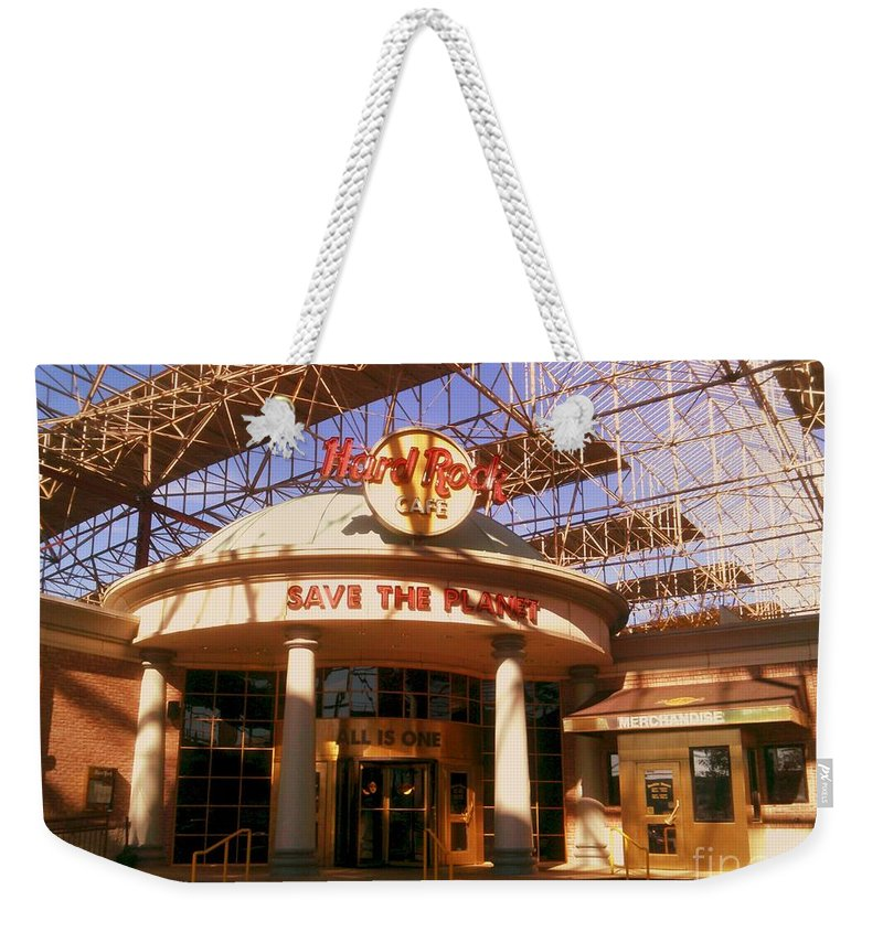 Weekender Tote Bag featuring the photograph Hard Rock Cafe At Union Station by Kelly Awad