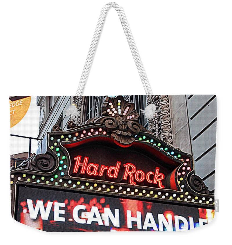 America Weekender Tote Bag featuring the photograph Hard Rock Cafe New York by Valentino Visentini