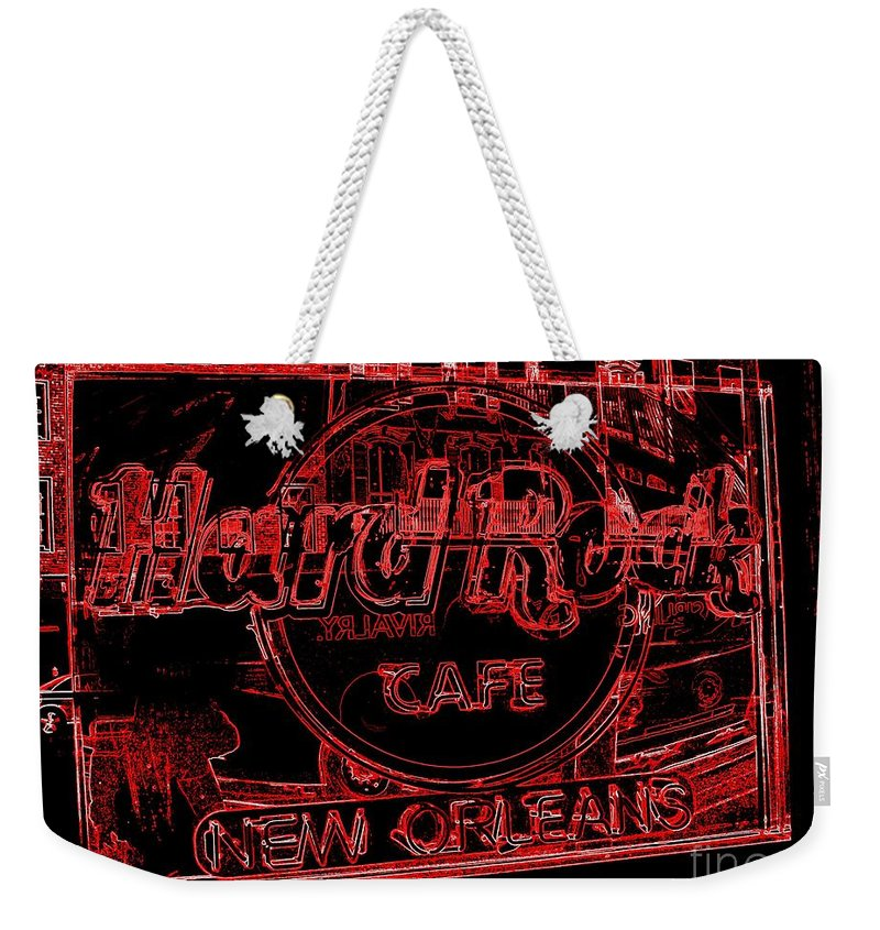 Hard Rock Cafe Weekender Tote Bag featuring the photograph Hard Rock Cafe Nola by Ed Weidman